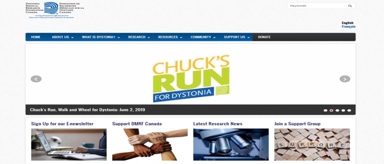 screenshot of new dystonia canada homepage.