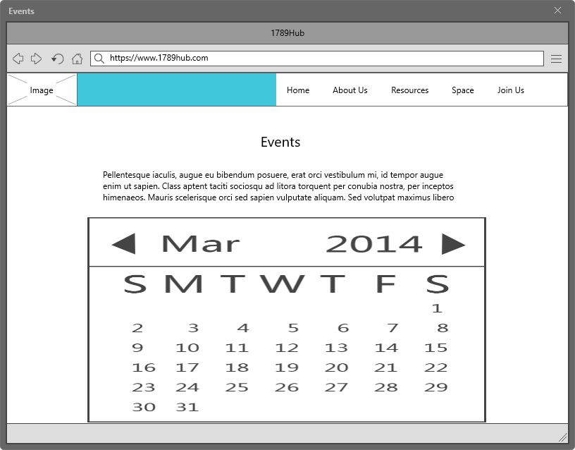 1789 Hub Events Page Wireframe