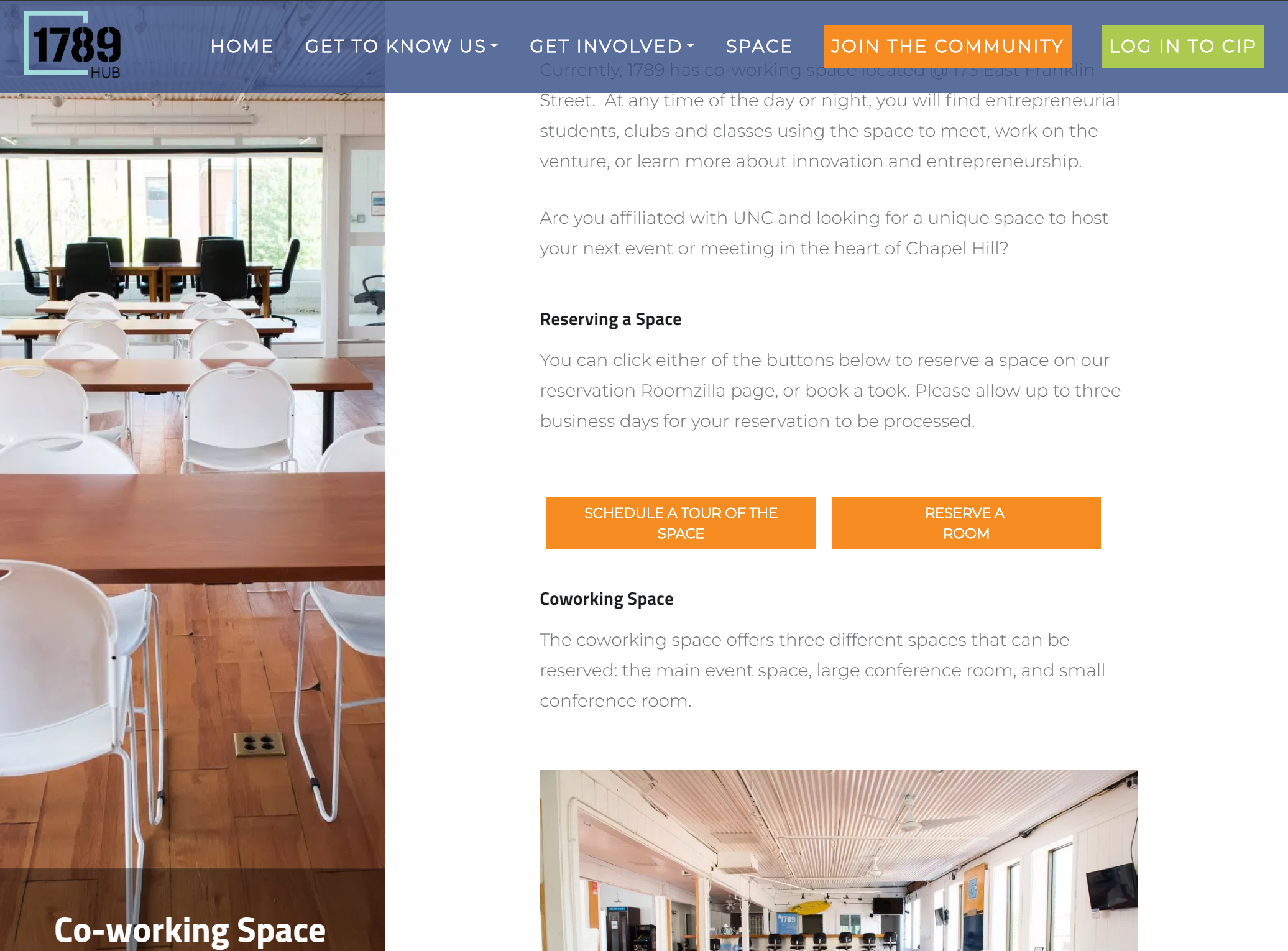 Screenshot of Co-working Space Page