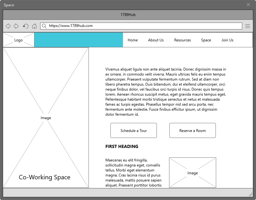 1789 Hub Co-Working Space Page Wireframe