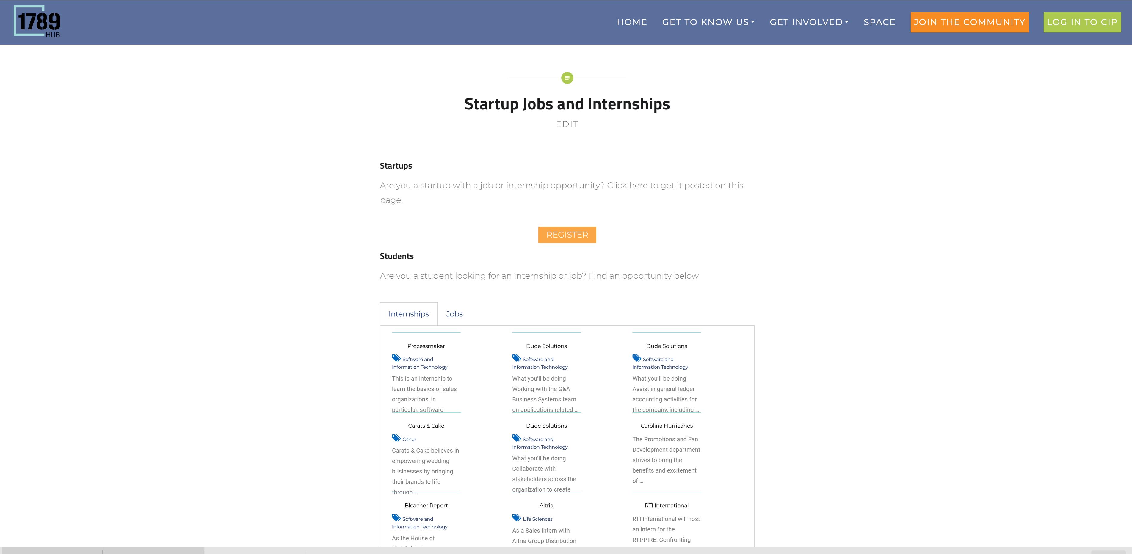 Screenshot of 1789 startup jobs and internships page