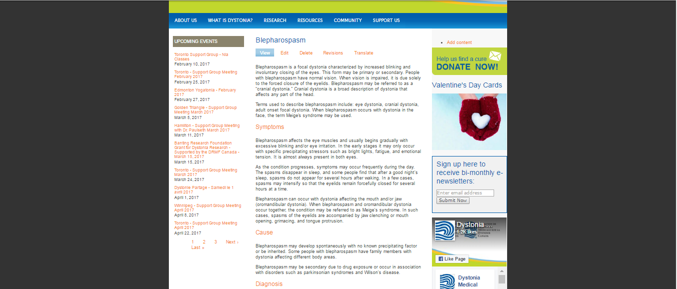 Screenshot of the old page on blepharospasm of dystoniacanada.org