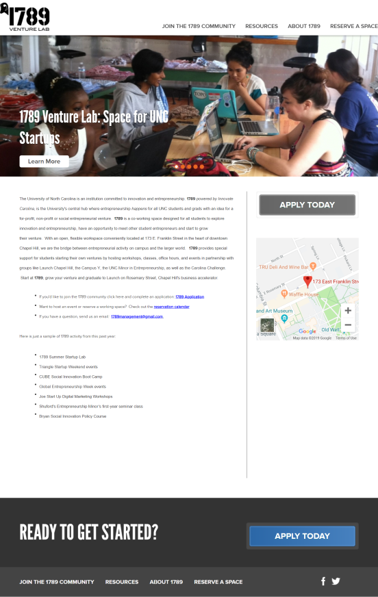 home page of 1789 venture lab, the old website of 1789 Hub