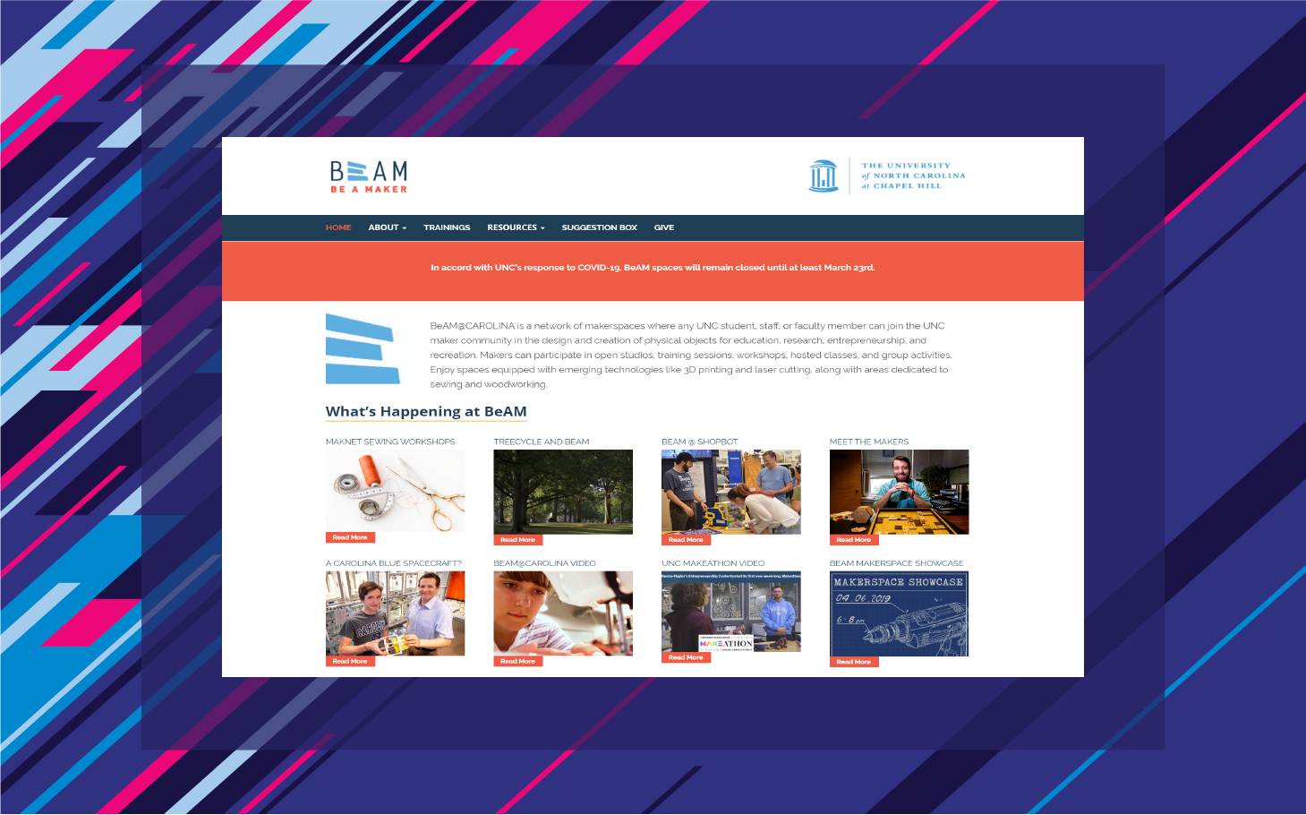 BeAM makerspace homepage